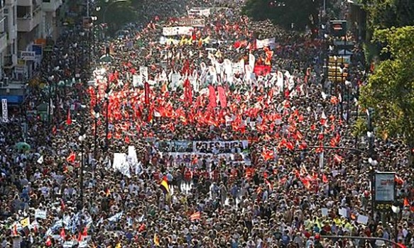 Protesters march during a demonstration against government austerity measures, in central Valencia