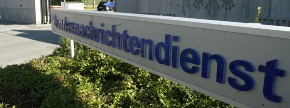 File picture shows the main entrance of Germany's intelligence agency Bundesnachrichtendienst (BND) headquarters in Pullach